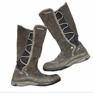 SALOMON Brown Leather Faux Fur Emmy Boot Size 7